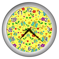 Cute Butterflies And Flowers   Yellow Wall Clocks (silver)  by Valentinaart