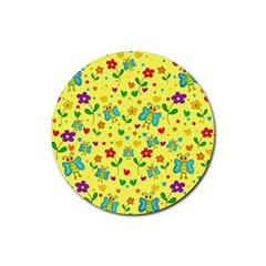 Cute Butterflies And Flowers   Yellow Rubber Round Coaster (4 Pack)  by Valentinaart
