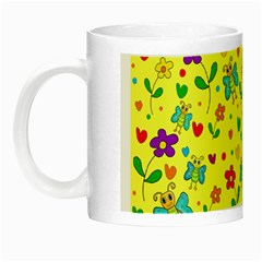 Cute Butterflies And Flowers   Yellow Night Luminous Mugs by Valentinaart