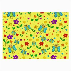 Cute Butterflies And Flowers   Yellow Large Glasses Cloth (2 Side) by Valentinaart