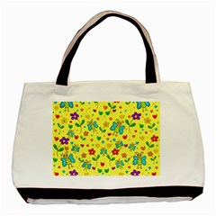 Cute Butterflies And Flowers   Yellow Basic Tote Bag (two Sides) by Valentinaart