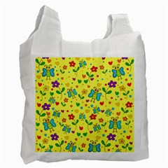 Cute Butterflies And Flowers - Yellow Recycle Bag (two Side)  by Valentinaart