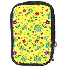 Cute Butterflies And Flowers   Yellow Compact Camera Cases by Valentinaart