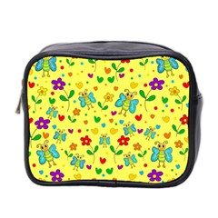 Cute Butterflies And Flowers   Yellow Mini Toiletries Bag 2 Side by Valentinaart