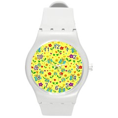 Cute Butterflies And Flowers   Yellow Round Plastic Sport Watch (m) by Valentinaart