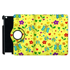 Cute Butterflies And Flowers   Yellow Apple Ipad 3/4 Flip 360 Case by Valentinaart
