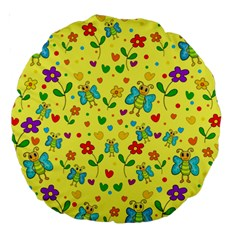 Cute Butterflies And Flowers   Yellow Large 18  Premium Round Cushions by Valentinaart