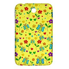 Cute Butterflies And Flowers   Yellow Samsung Galaxy Tab 3 (7 ) P3200 Hardshell Case  by Valentinaart