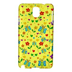 Cute Butterflies And Flowers   Yellow Samsung Galaxy Note 3 N9005 Hardshell Case by Valentinaart