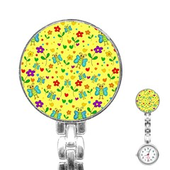 Cute Butterflies And Flowers   Yellow Stainless Steel Nurses Watch by Valentinaart