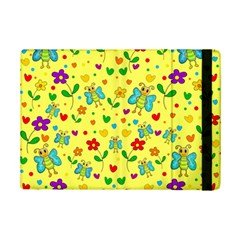 Cute Butterflies And Flowers   Yellow Ipad Mini 2 Flip Cases by Valentinaart