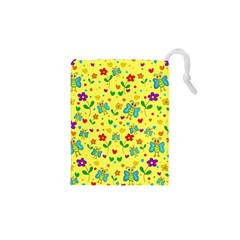 Cute Butterflies And Flowers   Yellow Drawstring Pouches (xs)  by Valentinaart