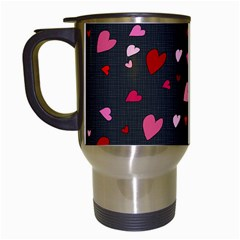 Hearts Pattern Travel Mugs (white) by Valentinaart