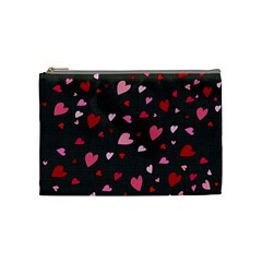 Hearts Pattern Cosmetic Bag (medium)  by Valentinaart