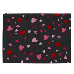 Hearts Pattern Cosmetic Bag (xxl)  by Valentinaart