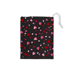 Hearts Pattern Drawstring Pouches (small)  by Valentinaart