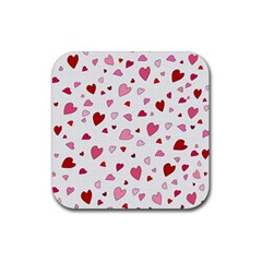 Valentine s Day Hearts Rubber Square Coaster (4 Pack)  by Valentinaart
