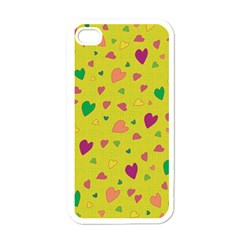Colorful Hearts Apple Iphone 4 Case (white) by Valentinaart