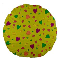 Colorful Hearts Large 18  Premium Round Cushions by Valentinaart