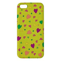 Colorful Hearts Apple Iphone 5 Premium Hardshell Case by Valentinaart