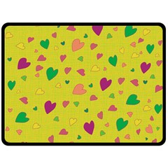 Colorful Hearts Double Sided Fleece Blanket (large)  by Valentinaart