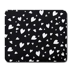 Black And White Hearts Pattern Large Mousepads by Valentinaart