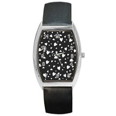 Black And White Hearts Pattern Barrel Style Metal Watch by Valentinaart