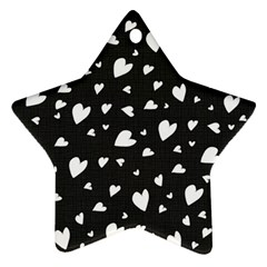 Black And White Hearts Pattern Star Ornament (two Sides) by Valentinaart