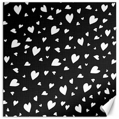 Black And White Hearts Pattern Canvas 16  X 16   by Valentinaart