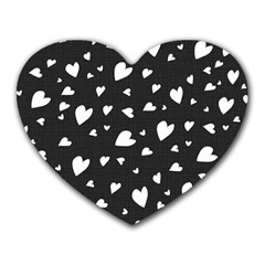 Black And White Hearts Pattern Heart Mousepads by Valentinaart