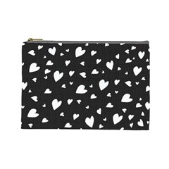 Black And White Hearts Pattern Cosmetic Bag (large)