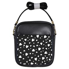 Black And White Hearts Pattern Girls Sling Bags