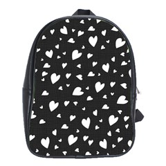Black And White Hearts Pattern School Bags (xl)