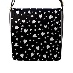 Black And White Hearts Pattern Flap Messenger Bag (l)  by Valentinaart