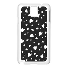 Black And White Hearts Pattern Samsung Galaxy Note 3 N9005 Case (white) by Valentinaart