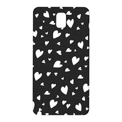 Black And White Hearts Pattern Samsung Galaxy Note 3 N9005 Hardshell Back Case by Valentinaart