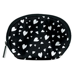 Black And White Hearts Pattern Accessory Pouches (medium)  by Valentinaart