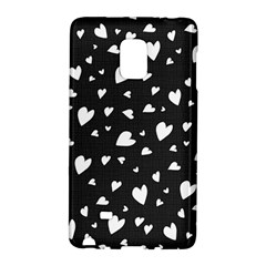 Black And White Hearts Pattern Galaxy Note Edge by Valentinaart