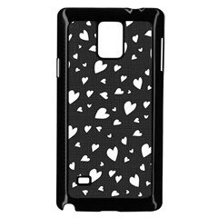Black And White Hearts Pattern Samsung Galaxy Note 4 Case (black) by Valentinaart