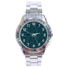Blue Coral Pattern Stainless Steel Analogue Watch by Valentinaart