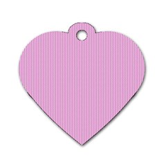 Pink Texture Dog Tag Heart (one Side)