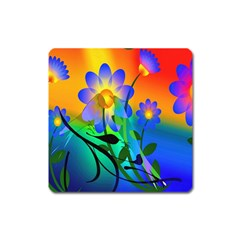 Abstract Flowers Bird Artwork Square Magnet by Nexatart