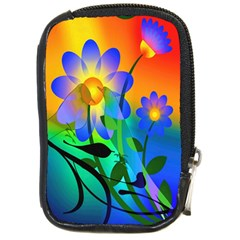 Abstract Flowers Bird Artwork Compact Camera Cases by Nexatart