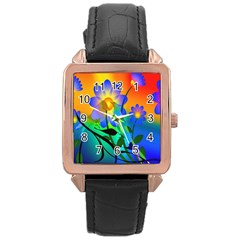 Abstract Flowers Bird Artwork Rose Gold Leather Watch  by Nexatart