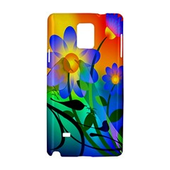 Abstract Flowers Bird Artwork Samsung Galaxy Note 4 Hardshell Case by Nexatart