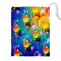 Fish Pattern Drawstring Pouches (xxl) by Nexatart