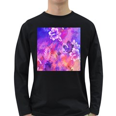 Abstract Flowers Bird Artwork Long Sleeve Dark T Shirts