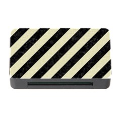 Stripes3 Black Marble & Beige Linen Memory Card Reader With Cf by trendistuff
