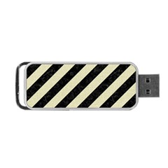 Stripes3 Black Marble & Beige Linen Portable Usb Flash (two Sides) by trendistuff