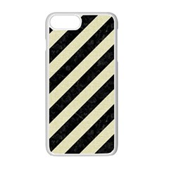 Stripes3 Black Marble & Beige Linen Apple Iphone 7 Plus White Seamless Case by trendistuff